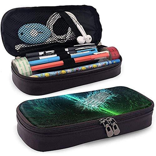 Étui à crayons en cuir vert bleu néon, trousse de maquillage de voyage, boîte à étuis