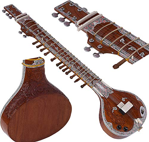 HAND-CARVED INDIAN RAVI SHANKAR SITAR RESONATOR TUMBA IN CEDAR with ALL FITTINGS