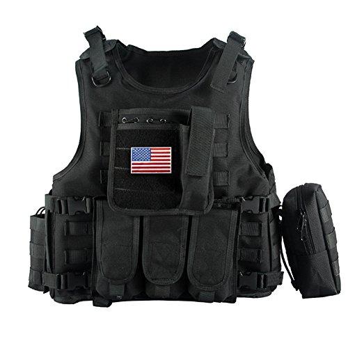YAKEDA Tactical Vest Apparecchiatura esterna Esercito campo fan gilet tattico per gli uomini e jungleadventure alpinismo SWAT Tactical Vest Forze Speciali addestramento al combattimento gilet - E88005 (nero)