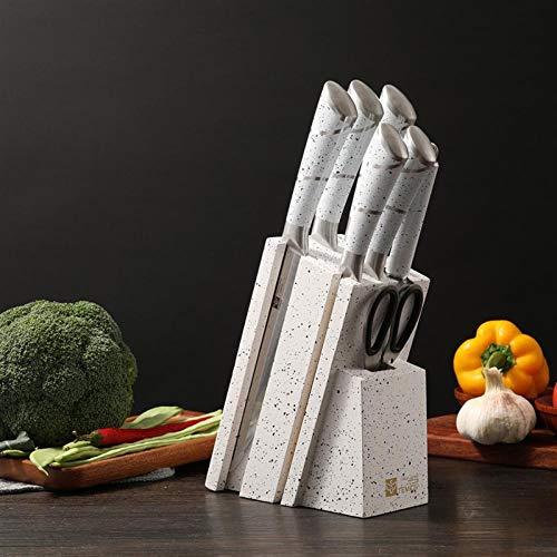 Establecer Cuchillo 7 en 1 Cuchillos de cocina Set Chefs Cuchillo Pan Utilitario Peluqueria cuchilla cuchillo conjunto de cuchillo de madera soporte de acero inoxidable cuchilla cuchillo conjunto conj