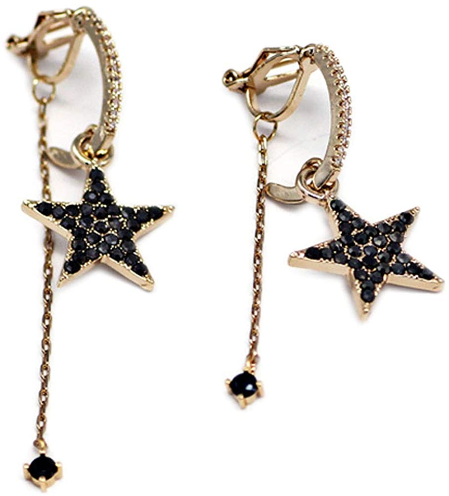 Clip on Earrings Asymmetry Tassels Drop Dangle Star Earring Black Crystal Women Girls Gold tone Soft Pads
