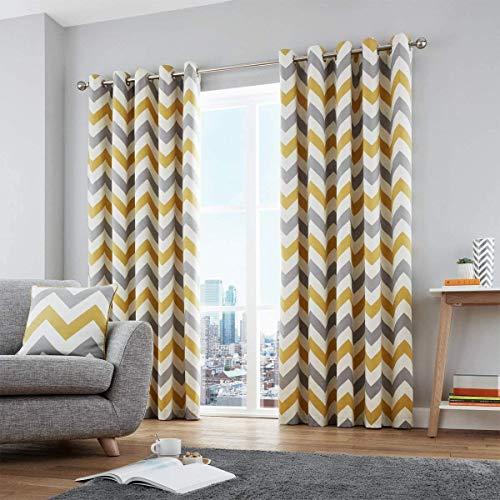 "Fusion Chevron - Cojín Relleno de algodón, Color Terracota, algodón, Ocre, Curtains: 46"" Width x 54"" Drop (117 x 137cm)"