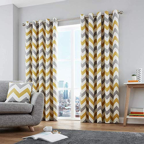 Fusion - Chevron - 100% Cotton Ready-Made Pair of Eyelet Curtains - 46'...
