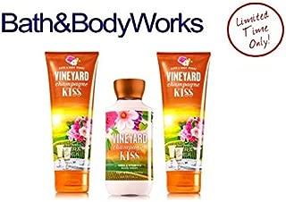 Bath & Body Works VINEYARD CHAMPAGNE KISS LOT of 3 ~ Body Lotion and 2 Ultra shea Body Cream Gift Set Full Size