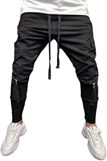 MK988 Mens Casual Active Solid Color Multi-Pockets with Zip Deco Sweatpants Pants Trousers