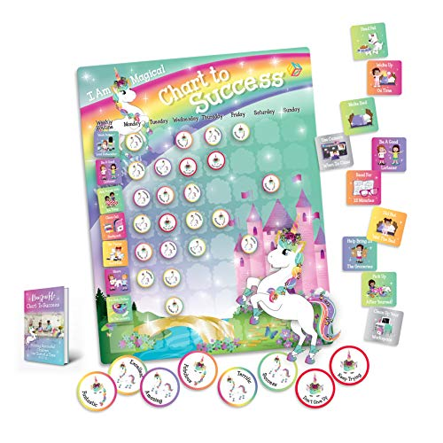 Unicorn Chart to Success| Magnetic Dry Erase| Daily Routine Responsibility Chore Chart for Kids| 80 Reward Tiles| 60 Tasks, Including Behavior and Self-Care| Fun Design for Girls| Raising a Star