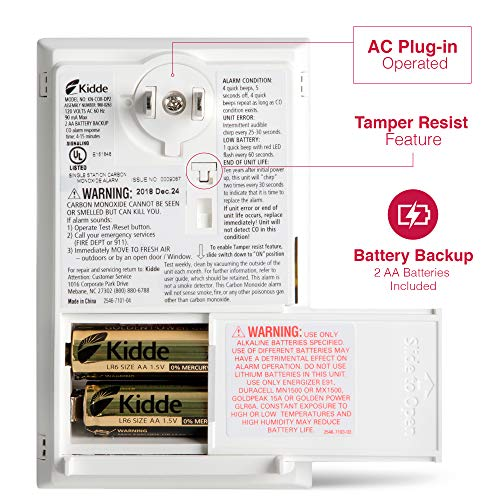 Kidde AC Carbon Monoxide Detector Alarm | Plug-In with Battery Backup | Model KN-COP-DP2