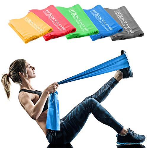 Resistance Bands Set. 5 Pack Non-Latex Physical Therapy, Professional Elastic Band. Perfect for Home Exercise, Workout, Strength Training, Yoga, Pilates, Rehab or Gym Leg Upper, Lower Body