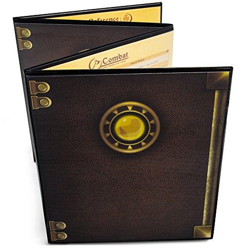 Stratagem The Master's Tome - Pantalla GM personalizable de 4 paneles con inserciones gratuitas – borrado en seco, accesorio de juego y de amo del calabozo para campañas de mesa RPG.