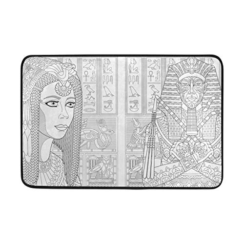 Türvorleger,Alte Pharao Tutanchamun Königin Kleopatra Fußmatte Indoor / Outdoor Waschbar Garten Büro Fußmatte, Küche Esszimmer Wohnzimmer Badezimmer Eintrag Teppiche Mit Rutschfester Rückseite 40