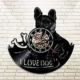 WJUNM 1 Pieza Amo Perro Bulldog francés casa Mascota Disco de Vinilo Reloj de Pared Mascota Cachorro Animal Reloj de Pared Arte Reloj decoración del hogar Regalo