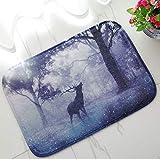GjbCDWGLA Purple Misty Forest Deer Mat De Baño Antideslizante Antimoho Absorbente Suave Mat para Baño Sala De Estar Cocina Dormitorio 50 * 80 Cm
