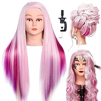 LuAiJa 26 -28  Mannequin Head Hair Styling Training Head Manikin Cosmetology Doll Head Synthetic Fiber Hair with Free Clamp Holder  Rainbow Synthetic Fiber Hair
