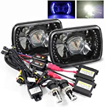ModifyStreet 4300K Stock White H4-3 Hi/Low Slim HID/7x6 H6014/H6052/H6054 Black Projector Headlights with Blue LED Ring