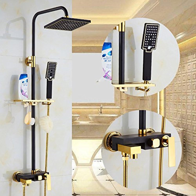 Maifeini Brass Faucets _ Black European-Style Shower golden Shower Kit-Black Copper,Paragraph B