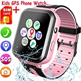 [SIM Card Included] Kids Smartwatch with GPS Tracker, Waterproof Smart Watch for Kids Boys Girls Age 3-12 Year Old, SOS Alarm Clock Digital Wrist Watch Phone Holiday Birthday Gift (Pink)