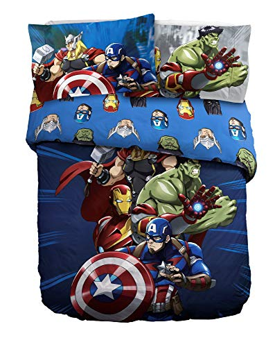 Marvel Comics Avengers Single Duvet Cover Set Reversible Bedding (Blue)
