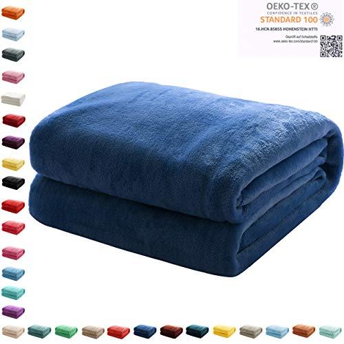 Mixibaby Kuscheldecke Flauschige extra weich & warm Wohndecke Flanell Fleecedecke, Falten beständig/Anti-verfärben als Sofadecke oder Bettüberwurf, Maße Decke Sarah:150 cm x 200 cm, Farbe:Dunkelblau
