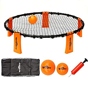 Volleyball Spike Game Set - Slam Ball Game Set - Played Outdoors, Indoors,Beach, Backyard, Tailgate for Kids,Adults,Family - Set Includes 3 Balls,1 Playing Nets,1 Pump,Carry Case,Rules Book from Win SPORTS
