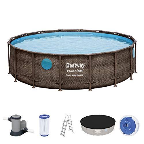 Power Steel Swim Vista Series Frame Pool Komplett-Set, rund, mit Filterpumpe, Sicherheitsleiter & Abdeckplane 488 cm x 122 cm