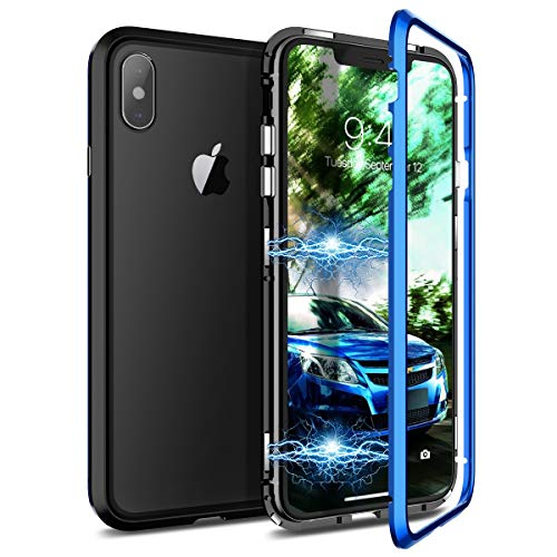 CE-Link Cover iPhone XS Max, Custodia Adsorbimento Magnetica Protezione a 360 Gradi per Tutto Il Corpo Rigida in Vetro Trasparente Temperato - Blu + Nero