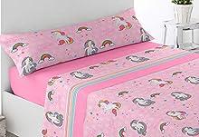 Energy Colors Textil - Hogar - Kid Bed - Juego Sábanas Térmicas Tipo Pirineo Polar 3 Piezas Invierno Otoño (Unicornio)