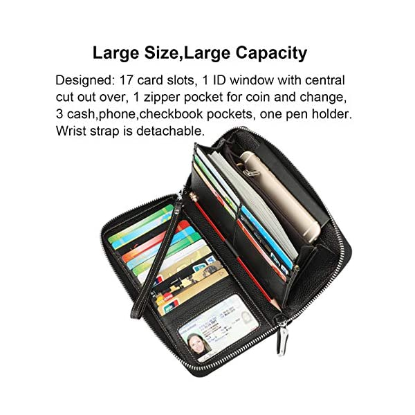Lavemi Women's RFID Blocking Leather Zip Around Wallet Large Phone Holder Clutch Travel Purse Wristlet 4
