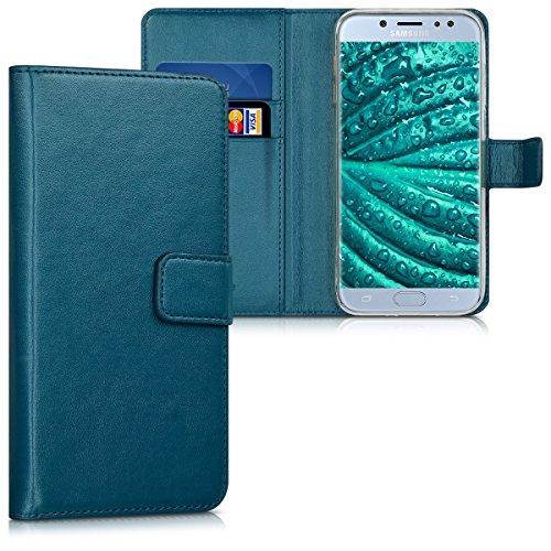 kwmobile Funda para Samsung Galaxy J7 (2017) DUOS - Carcasa de Cuero sintético - Case con Tapa y Tarjetero en petróleo