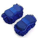 2 manoplas de lavado de chenilla, esponja de microfibra para limpieza de coche y hogar, sin arañazos, tamaño pequeño (azul)