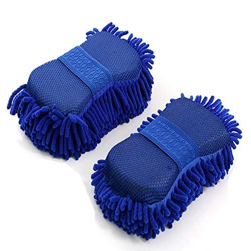 2 manoplas de lavado de chenilla, esponja de microfibra para