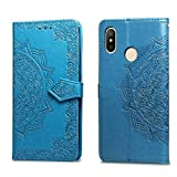 Bear Village Hülle für Xiaomi Redmi 6 Pro/MI A2 Lite, PU Lederhülle Handyhülle für Xiaomi Redmi 6 Pro/MI A2 Lite, Brieftasche Kratzfestes Magnet Handytasche mit Kartenfach, Blau