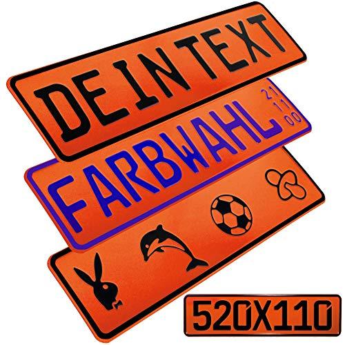 L & P Car Design FKZ 1 Stück Fun Kennzeichen 52cm x 11cm Wunschtext Bohrung Beschichtungsfarbe Individuell Wunschkennzeichen Wunschprägung Namenskennzeichen Namensschild Farbe ORANGE