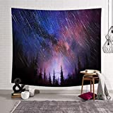 SHRAPHY Starry Night Sky Tapestry 80x60in Shooting Stars Lush Forest Fabric Tapestry for Living Room Bedroom Dorm Wall Hanging GTYYSH33