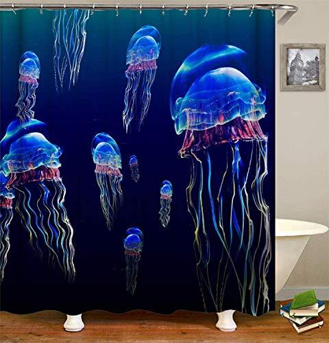 N / A Blaues Meer. Viele Blaue Quallen. Duschvorhang. wasserdicht. Einfach zu säubern. Home wasserdichter & schimmelresistenter dekorativer Duschvorhang A110 200x230cm