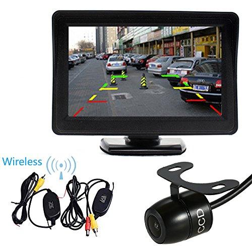 PolarLander Moniteur TFT LCD 4,3 Pouces avec Ombrelle arrière de Voiture de Sauvegarde Système d'inversion avec la vidéo de Transmission sans Fil + Mini caméra