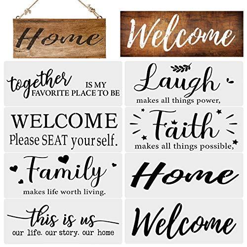 Divertida plantilla de letrero familiar, plantillas reutilizables de bienvenida al hogar, plantilla esencial inspiradora para pintar en..