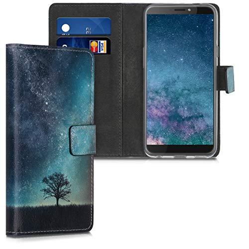 kwmobile Hülle kompatibel mit HTC Desire 12s - Kunstleder Wallet Hülle mit Kartenfächern Stand Galaxie Baum Wiese Blau Grau Schwarz