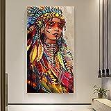 Cartel colorido de la mujer india, sala de estar, dormitorio, pintura en lienzo, pintura decorativa 60x120 CM (sin marco)