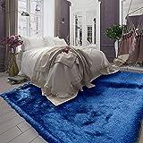 8x10 Feet Navy Blue Dark Blue Color Solid Plush 3D Pile Decorative Designer Area Rug Carpet Bedroom Living Room Indoor Shag Shaggy Shimmer Shiny Glitter Furry Flokati Plush Pile Modern Contemporary
