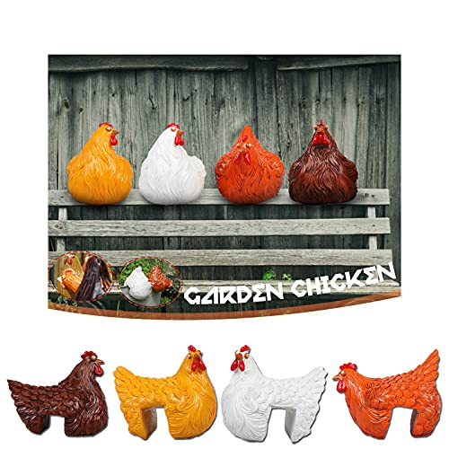 Resin Chicken Statue Clip Ladder Hen 2021 Pastoral Ornaments Garden Lovely Resin Chicken Statue Decoration for Fences/Wooden Stakes/and Chicken Handicrafts On Wooden Ladders (4-Color Mix)