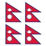 KIWISTAR Aufkleber 4,5 x 3,8 cm Nepal - Land Staat Autoaufkleber Flagge Länder Wappen Fahne Sticker Kennzeichen