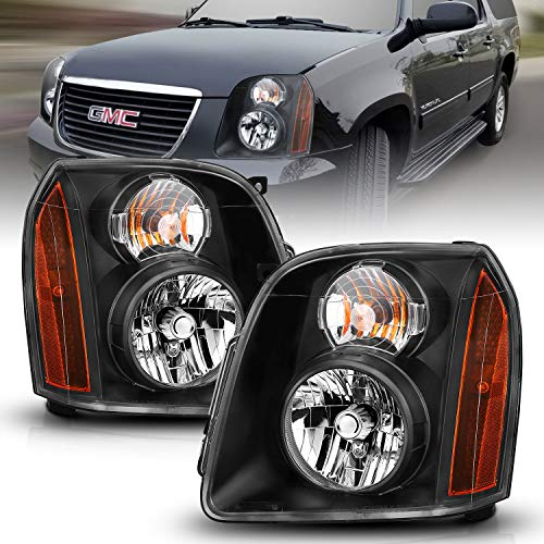 AmeriLite Black Replacement Headlights Pair for 2007-2014 GMC Yukon/Yukon XL/Denali - Driver and Passenger Side