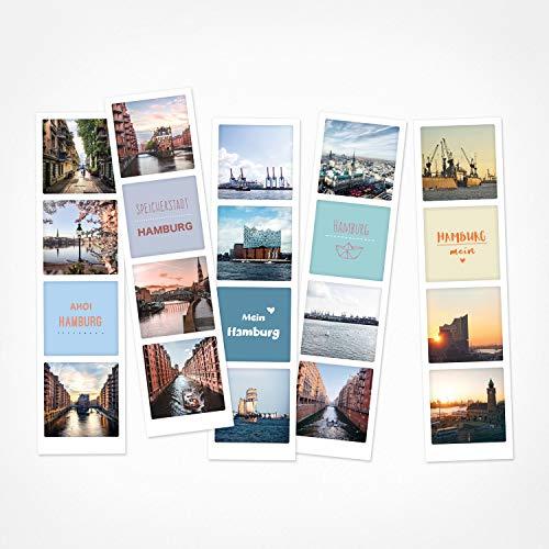 PICKMOTION Set mit 5 Fotostreifen, Grüße & Wünsche, Instagram-Fotografen-Fotostreifen Hamburg, Premium Lesezeichen, lustige Sprüche & Motive, Hamburg Motive