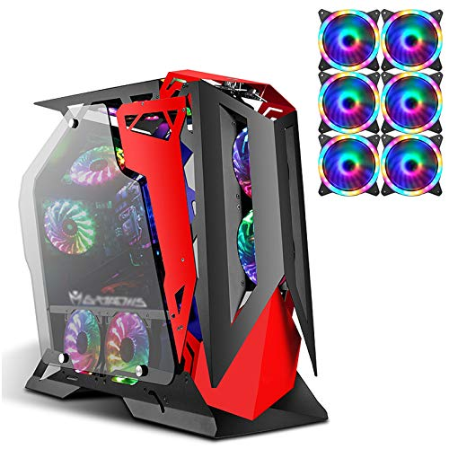 JF-TVQJ Caja Pc Gamer Caja para Juegos De Torre Completa Chasis De Computadora ATX, Vidrio Templado De Doble Cara, Listo para Refrigeración por Agua, Caja USB 3.0, con 6 Ventiladores RGB