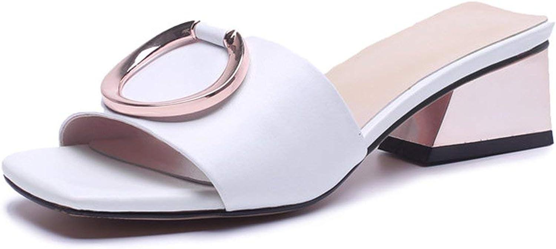 Nytt ansikte 2019 nyaste varumärket kvinnor skor Genuine läder läder läder Sandals Metal Decoration sommar Slipper Elegant Party Dress skor kvinna  utlopp till salu