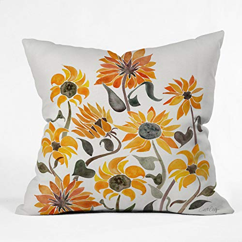 Society6 Cat Coquillette Sunflower Watercolor Yellow Indoor Throw Pillow, 16'x16'