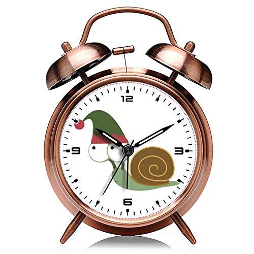 Reloj despertador de Navidad de cobre retro silencioso con luz nocturna, doble campana, 323. Lindo caracol de Navidad elfo despertador