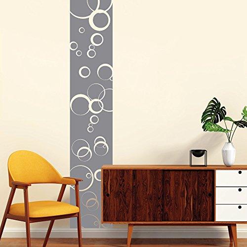 Wandtattoo-Loft Wandaufkleber Bordüre mit Kreisen – Wandtattoo zur tollen Dekoration / 54 Farben / 4 Größen/rauhfasergeeignet/wiederablösbar/grau / 240 cm lang x 36 cm breit