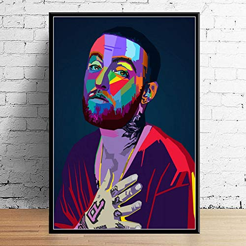 Weijiajia Juice Wrld J Paste Post Malone Mac Miller Travis Scoot Rapper Hip Hop Star Art Canvas Decor Decoración para el hogar Póster de Pared 50x70cm F-1983