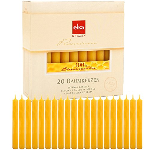 Eika Box of 20 Finest Beeswax Tree Candles Honey Yellow 100 Percent Beeswax High 10.5 Centimeters